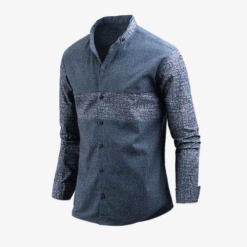 A.T 긴팔버블배색차이나셔츠