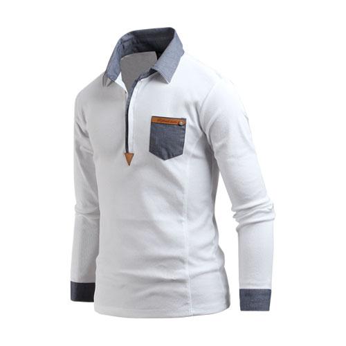 남성 긴팔 데님배색카라 남자 카라티셔츠 ts2288